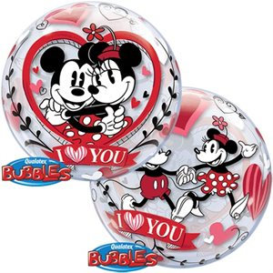 MYLAR BULLE I LOVE YOU MICKEY & MINNIE 22 PO.