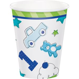 VERRES 9 OZ. 8/PQT - 1 AN DESSINS BLEU