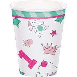 VERRES 9 OZ. 8/PQT -  1 AN DESSINS ROSE