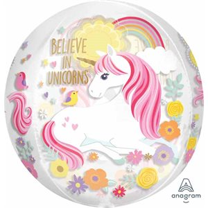 MYLAR ORBZ 'BELIEVE IN UNICORNS' LICORNE