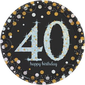 ASSIETTES 7 PO. 40 HAPPY BIRTHDAY ÉTINCELANT 8/PQT